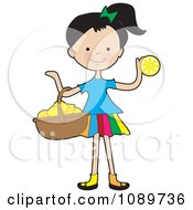 Girl Carrying A Basket Of Lemons