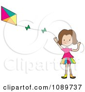 Clipart Girl Waving And Flying A Kite Royalty Free Vector Illustration