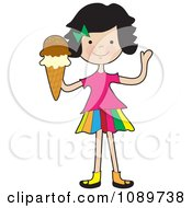Girl Waving And Holding An Ice Cream Cone