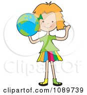 Clipart Girl Holding A Globe Royalty Free Vector Illustration