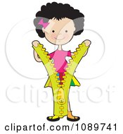 Clipart Girl Holding A Giant Zipper Royalty Free Vector Illustration by Maria Bell