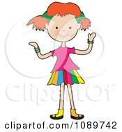 Clipart Red Haired Girl Shrugging Royalty Free Vector Illustration