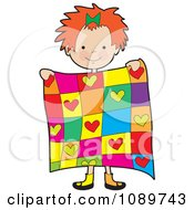 Clipart Red Haired Girl Holding A Quilt Royalty Free Vector Illustration