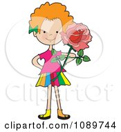 Clipart Red Haired Girl Holding A Rose Royalty Free Vector Illustration