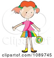 Red Haired Girl Playing With A Yo Yo