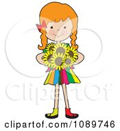 Clipart Red Haired Girl Holding Sunflowers Royalty Free Vector Illustration