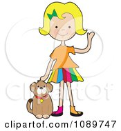 Blond Girl Waving And Petting A Dog