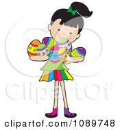 Clipart Girl Carrying Easter Eggs In Her Arms Royalty Free Vector Illustration