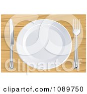 Clipart 3d White Plate With Silverware On A Wooden Table Royalty Free Vector Illustration by AtStockIllustration