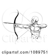 Clipart Black And White Strong Male Archer Royalty Free Vector Illustration