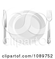 Clipart 3d Silver Fork And Butter Knife By A White Plate Royalty Free Vector Illustration by AtStockIllustration