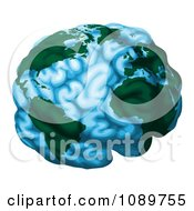 Blue Brain Globe With Green Continents