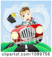 Clipart Scared Businessman Driving And Losing Control Of His Vehicle Royalty Free Vector Illustration by AtStockIllustration