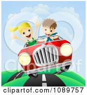 Clipart Happy Couple Driving Fast On A Hilly Road Royalty Free Vector Illustration