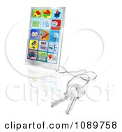 Clipart 3d Smart Phone With Apps And Attached Keys Royalty Free Vector Illustration by AtStockIllustration