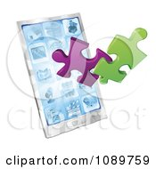 Clipart 3d Puzzle Pieces Bursting From A Smart Phone Royalty Free Vector Illustration by AtStockIllustration