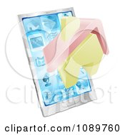Clipart 3d House Emerging From A Silver Smart Phone Royalty Free Vector Illustration