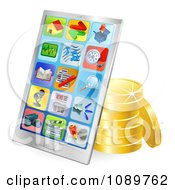 Clipart 3d Chrome Smart Phone With Gold Coins Royalty Free Vector Illustration