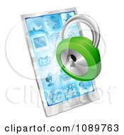 Clipart 3d Green Padlock Emerging From A Cell Phone Royalty Free Vector Illustration