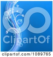 Clipart Blue Background With Swooshes Of Bubbles And Waves Royalty Free Vector Illustration