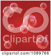 Clipart Red Background With Reflective Bubbles Royalty Free Vector Illustration