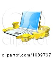 3d Gold Coins Stacked Around A Laptop