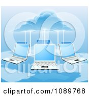 Clipart 3d Cloud Electrifying A Network Of Laptop Computers Over A Map Royalty Free Vector Illustration