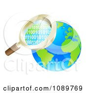 Clipart 3d Magnifying Glass Searching Globe Binary Coding Royalty Free Vector Illustration by AtStockIllustration