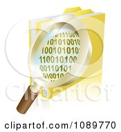Clipart 3d Magnifying Glass Over Binary Coding And Data Folders Royalty Free Vector Illustration by AtStockIllustration