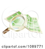 Clipart 3d Magnifying Glass Searching Over A Gps Map Royalty Free Vector Illustration