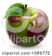 Clipart 3d Green Apple Globe With Red Continents Royalty Free Vector Illustration by AtStockIllustration