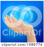 Clipart Human Hand Holding A Bubble Or Crystal Ball Royalty Free Vector Illustration by AtStockIllustration
