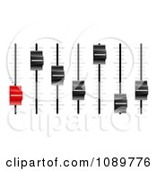 Clipart 3d Red And Black Slider Or Fader Control Knobs Royalty Free Vector Illustration