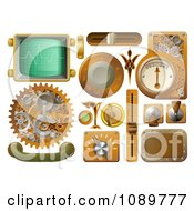 Clipart 3d Steampunk Styled Handles Knobs Screens And Switches Royalty Free Vector Illustration by AtStockIllustration