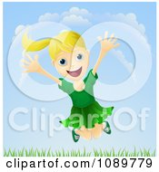 Clipart Happy Blond Girl Jumping Outdoors Royalty Free Vector Illustration