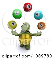 Clipart 3d Tortoise Juggling Bingo Balls Royalty Free CGI Illustration by KJ Pargeter