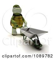3d Tortoise Pushing A Wheelbarrow