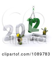 Clipart 3d Tortoises Replacing 2011 With New Year 2012 Royalty Free CGI Illustration