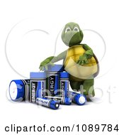Clipart 3d Tortoise With Alkaline Batteries Royalty Free CGI Illustration