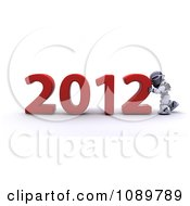Clipart 3d Robot Pushing Together A Red 2012 Royalty Free CGI Illustration
