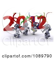 Clipart 3d Robots Dancing At A New Years 2012 Party Royalty Free CGI Illustration