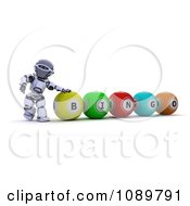 Clipart 3d Bingo Robot Resting A Hand On A Ball Royalty Free CGI Illustration by KJ Pargeter