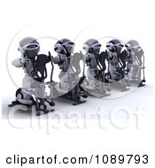Clipart 3d Robots Exercising On Cross Trainers In A Gym Royalty Free CGI Illustration