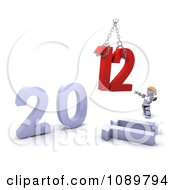 Clipart 3d Robot Replacing 2011 With 2012 Royalty Free CGI Illustration