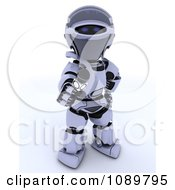 Clipart 3d Interviewing Robot Holding Out A Microphone Royalty Free CGI Illustration