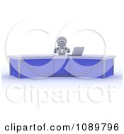 Clipart 3d News Anchor Robot At A Desk With A Laptop Royalty Free CGI Illustration