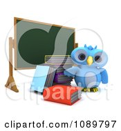 3d Blue Bird Or Owl With Books By A Chalk Board