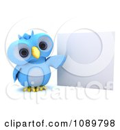 Clipart 3d Blue Bird Or Owl Presenting A Sign Royalty Free CGI Illustration by KJ Pargeter