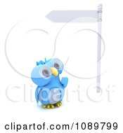 Clipart 3d Blue Bird Or Owl Looking Up At A Street Sign Royalty Free CGI Illustration by KJ Pargeter
