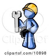 Proud Blue Construction Worker Man In A Hardhat Holding A Wrench